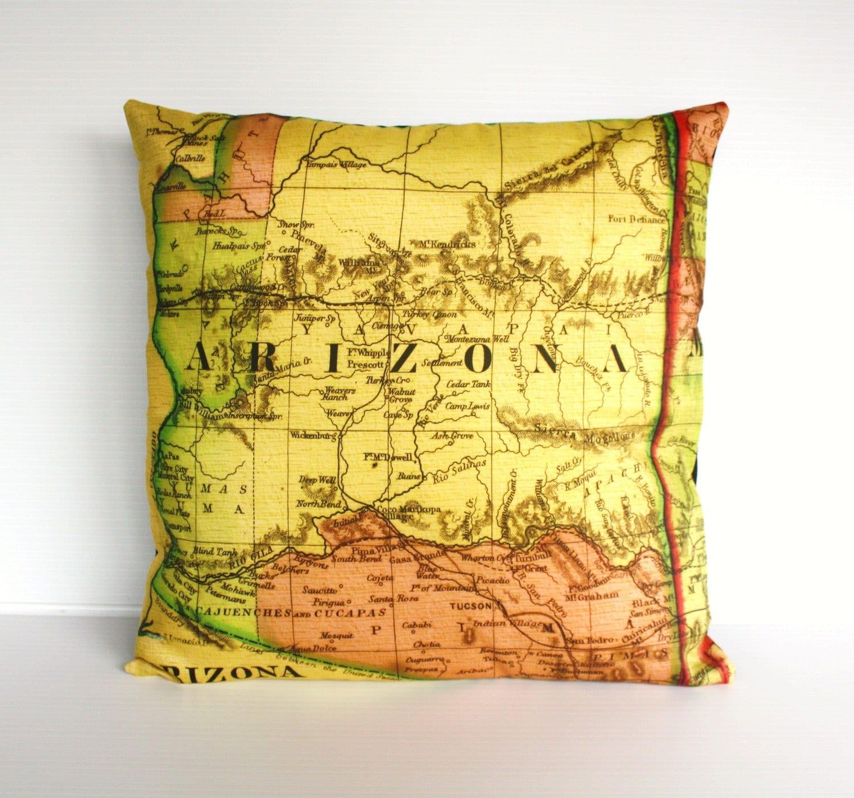 ARIZONA органического хлопка старинные карты подушки, подушки, подушки ocver, бросить подушки, 16 дюймов, 41 см