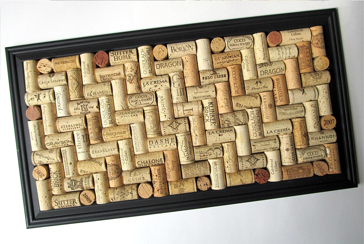 Wine Cork Board with Matte Black Frame by LizzieJoeDesigns on Etsy