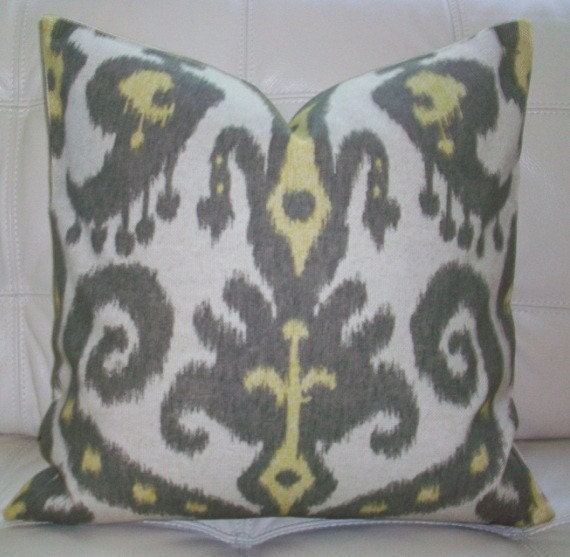 Decorative Designer  Pillow Cover - 18X18 - IKAT PRINT, GREY, CHARTREUSE ON NATURAL BACKGROUND