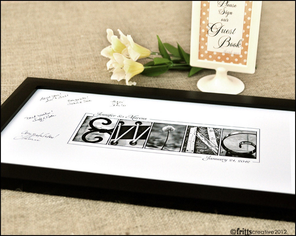Personalized Wedding GUEST BOOK Alphabet Photography 10x20 Name Print (Unframed)