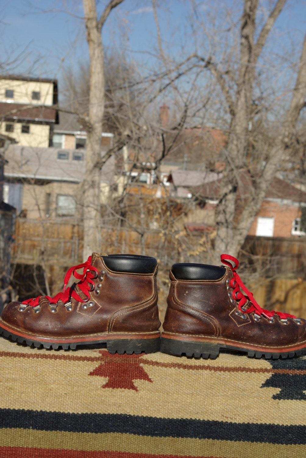 vtg. leather J.C. Penny hiking BOOTS red lace up womens size 7