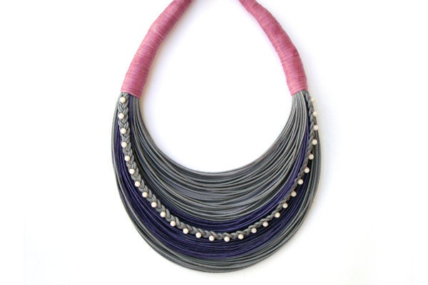 Pink and Gray  romantic beaded statement necklace Spring - Summer Collection