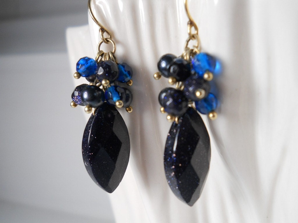 HUGE SALE-15% off Today Marquise Shape Sparkling Blue Goldstone Dangle Earrings