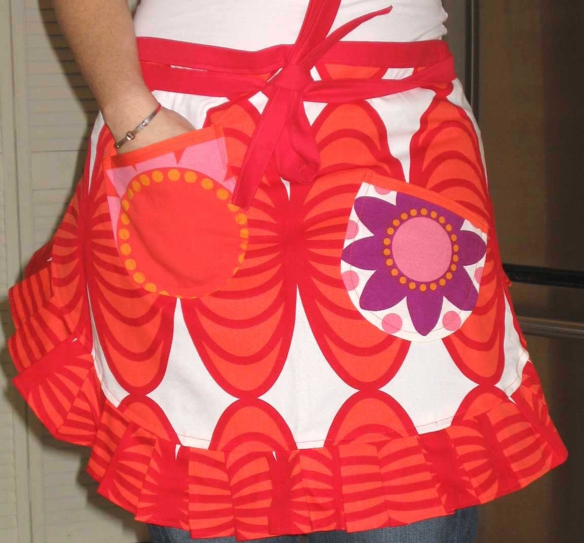 it's a small world  - half apron for women