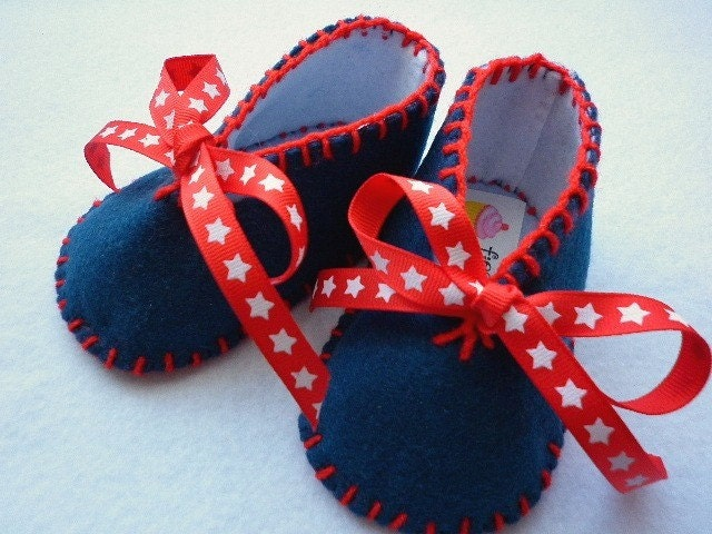 STARS, Navy blue and red, baby, booties, slippers, crib shoes, toddler, boy, girl, nautical