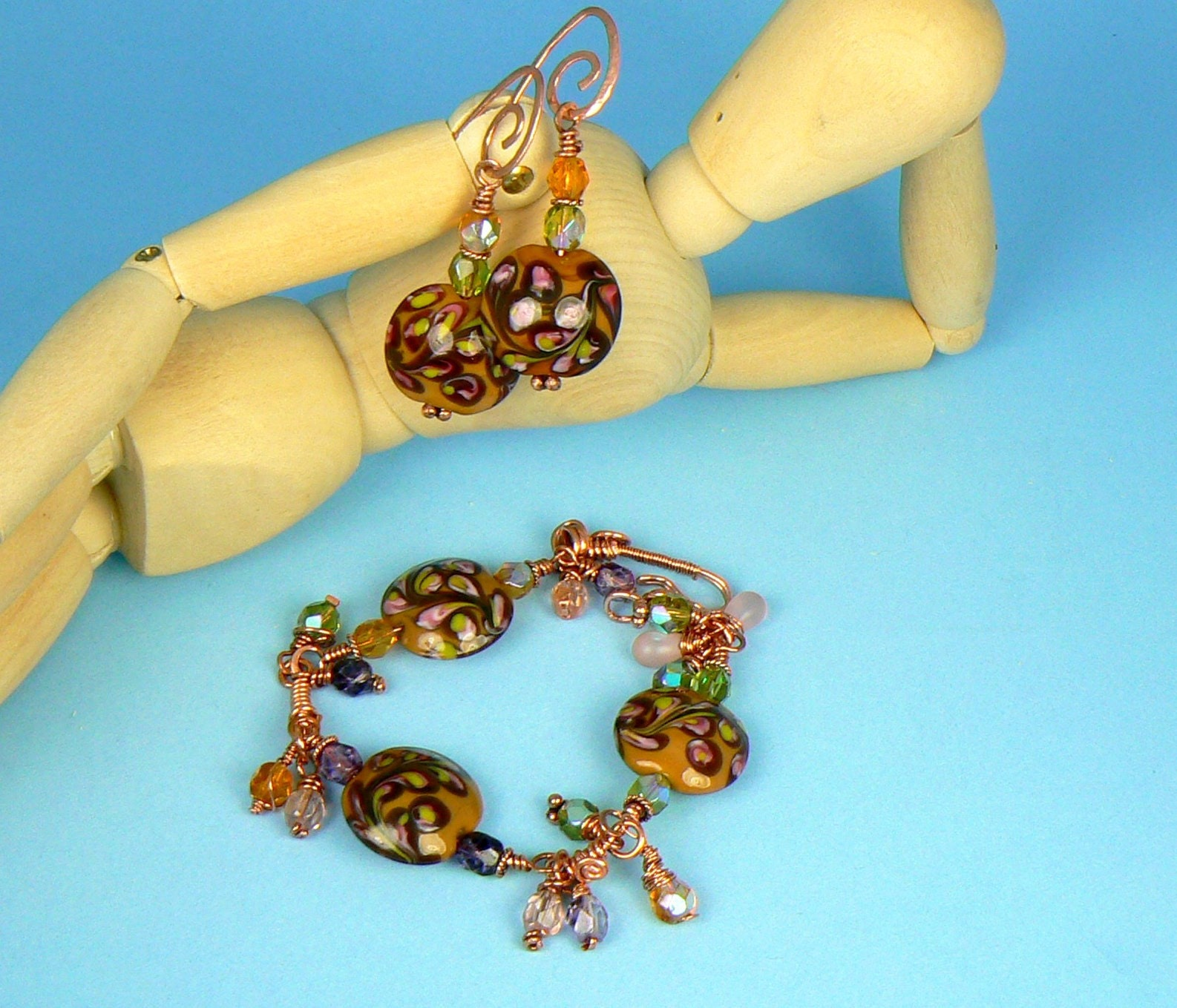 Caramel Rose~ooak lampwork czech crystal and copper bracelet & earring set by ElysianFields from etsy.com