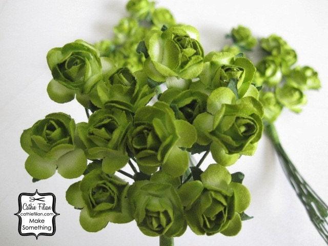 36 мини - Lime Green бумажные цветы - мини-букет