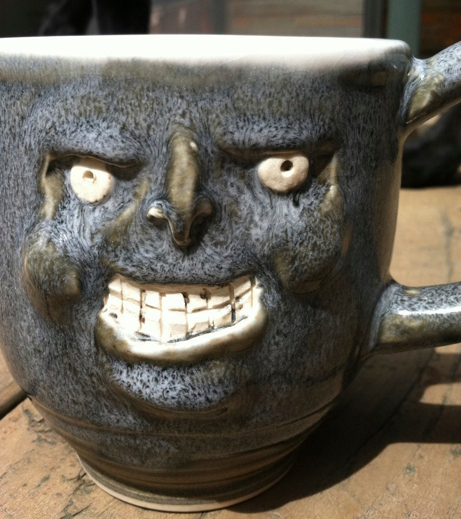 creepy gray guy, happy mug