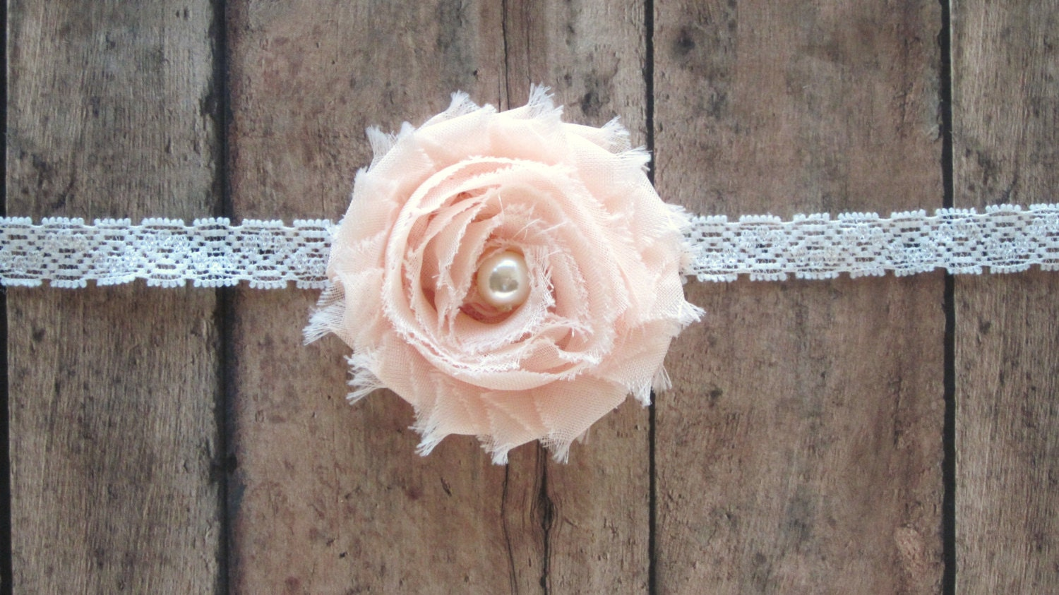 Pale Coral Shabby Chic Chiffon Newborn Headband, Baby Headband,Toddler Hair Clip, Girls Hair Clip, Teen and Adult Hair Clip, Photo Prop! - CappyClips