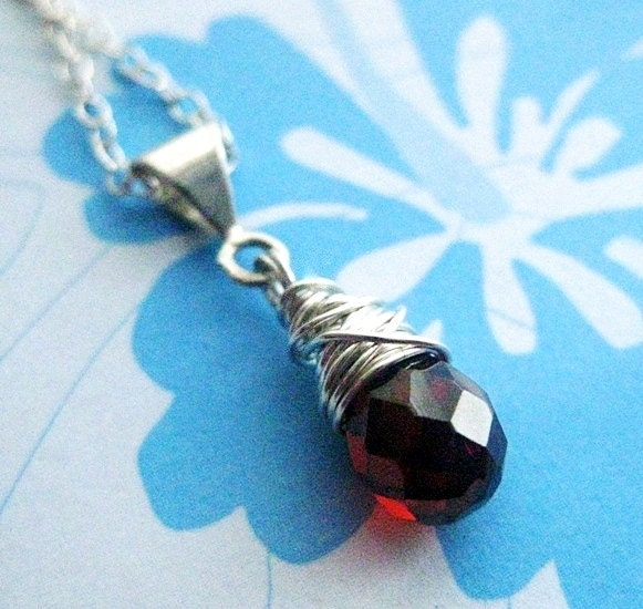 Red Garnet Pendant. Sterling Silver Chain Necklace. Strawberry Wine