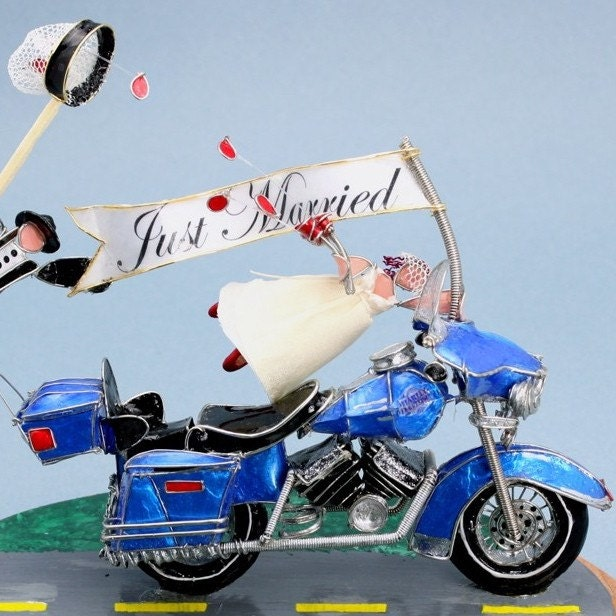 motorbike wedding cake toppers