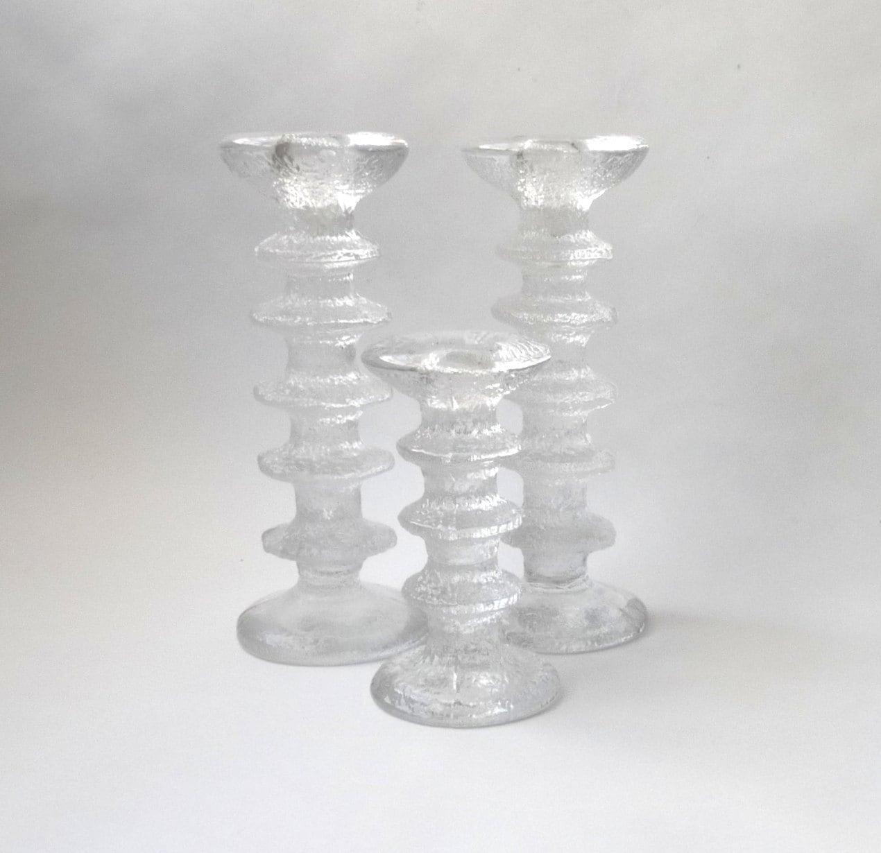 Mid Century Modern Iittala Festivo Glass Candle Sticks by Timo Sarpaneva  Scandinavian Modern