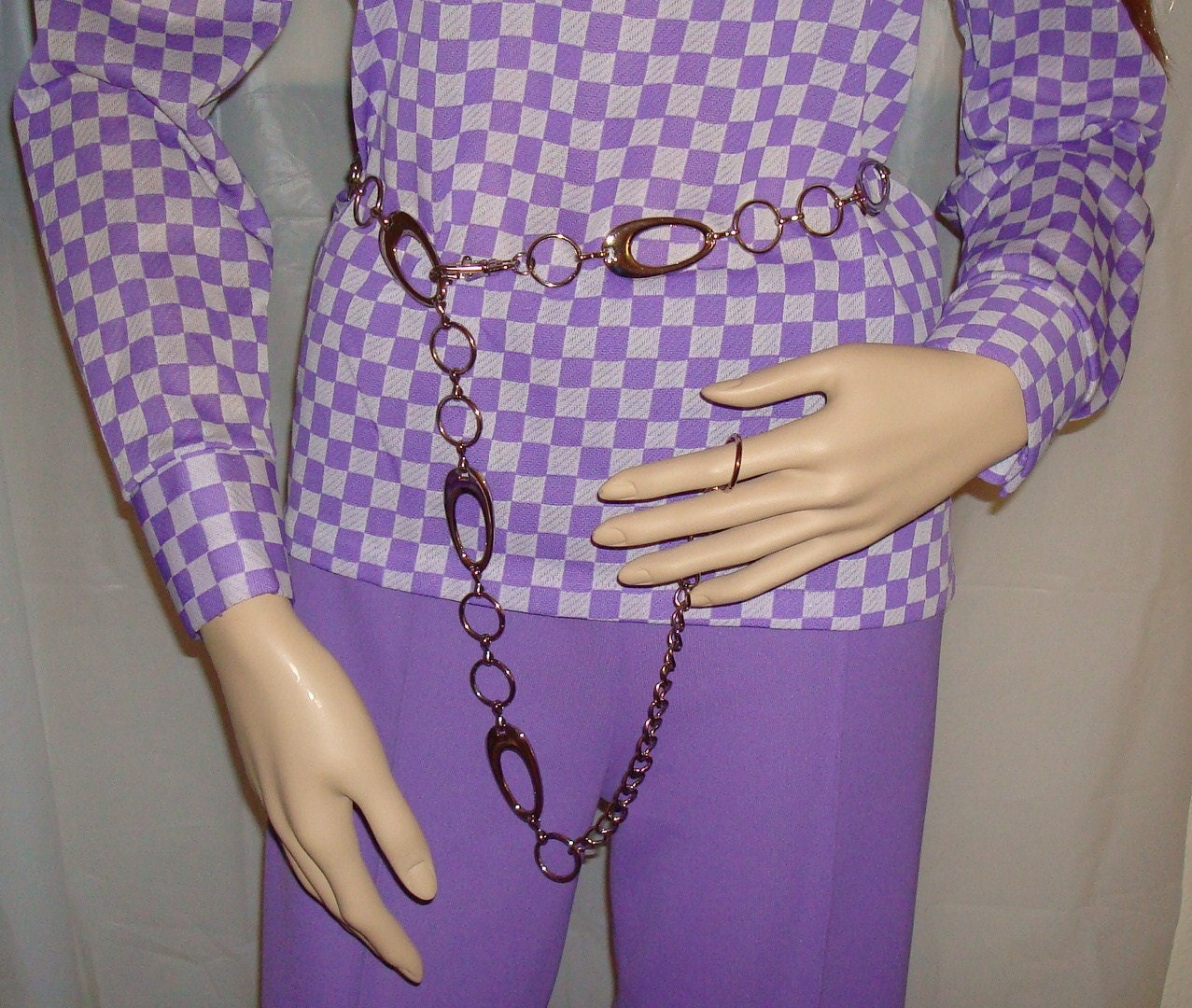 Vintage Sears Purple Polyester Pantsuit and Chain Belt - Vtg Size 12/14