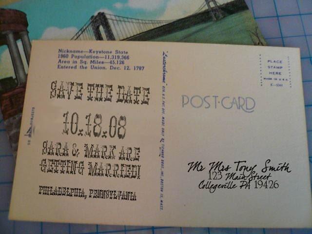 vintage save the date postcard