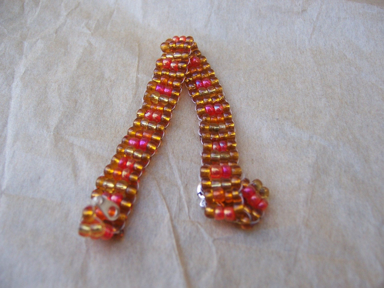Gold Orange Bead Bracelets