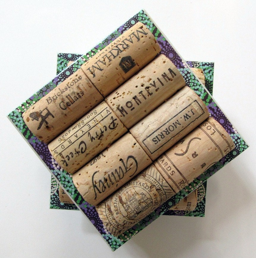 Set Of Four Blue Green Starburst Wine Cork and Ceramic Coasters