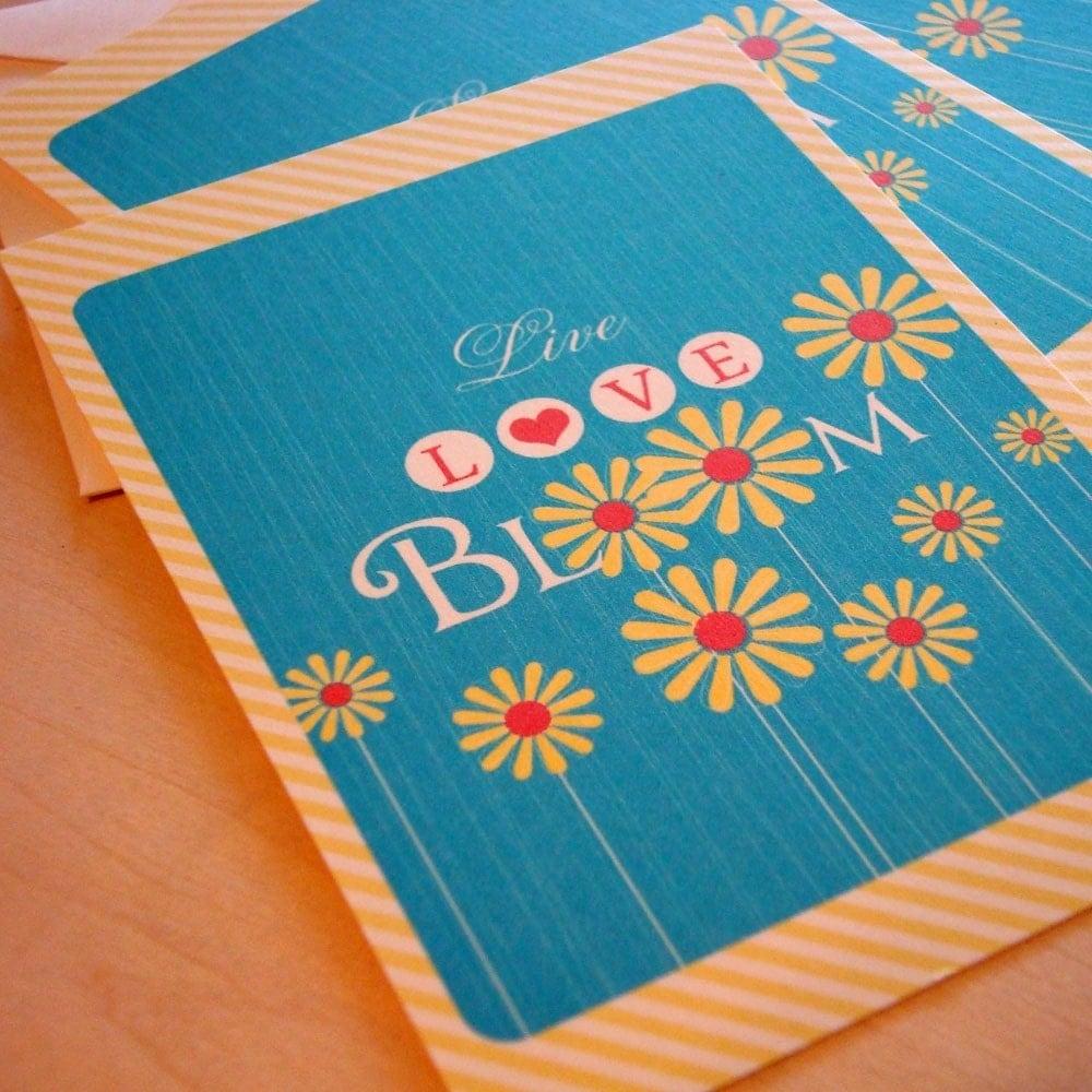 Live Love Bloom Blue Flat Notecards Set of 8