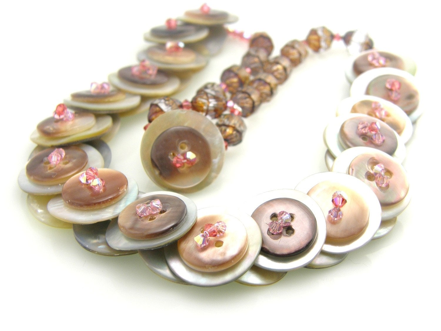 Pink and Brown Mother of Pearl Button Necklace