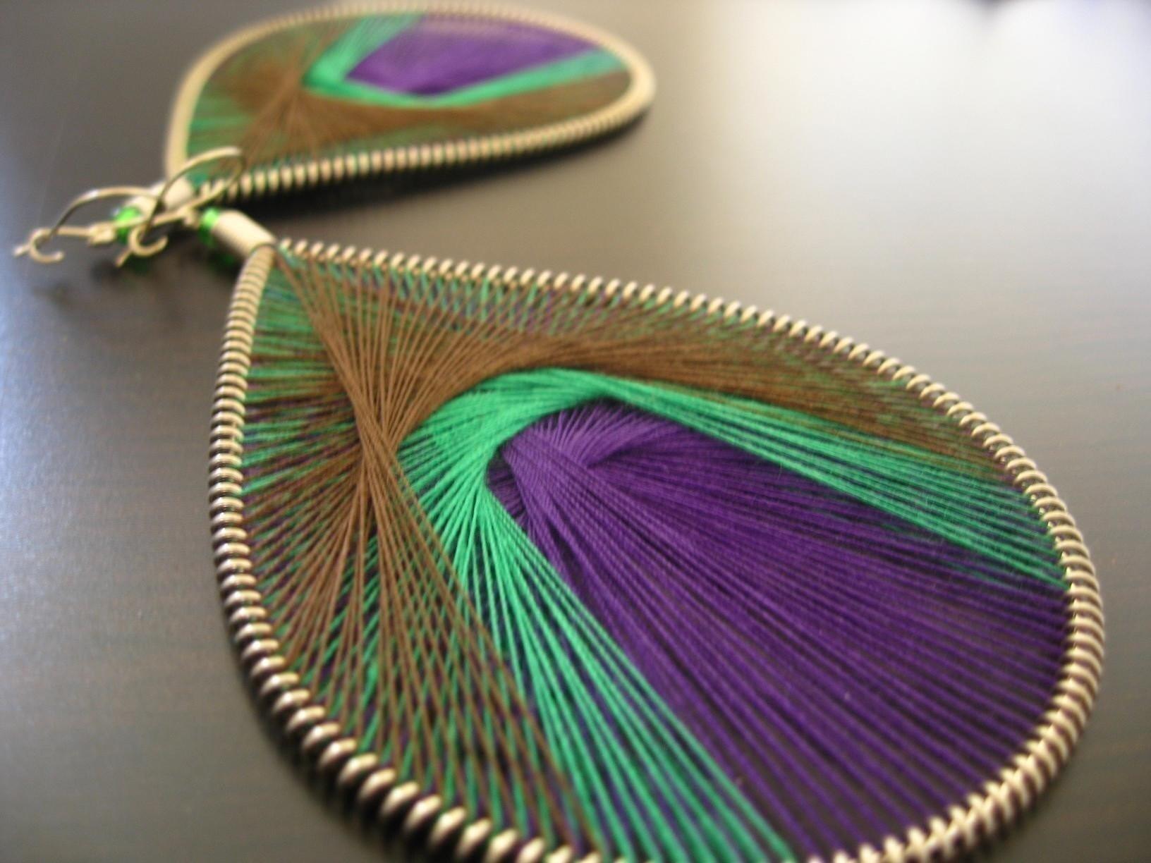 6 Dollar Sale w/ Free Shipping-Thread Earrings-Royal Peacock