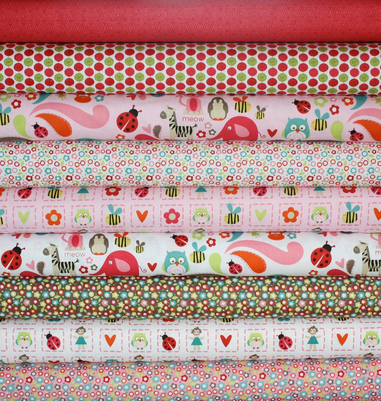 Alphabet Soup Fabric by Zoe Pearn for Riley Blake- Pink 1/2 Yard Bundle, 9 total