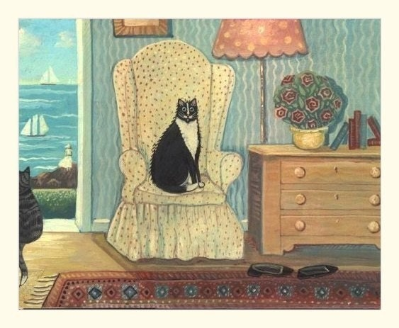SEA COTTAGE CAT Ocean Kitty SIGNED FOLK ART Wendy Presseisen  CAT ON THE COAST