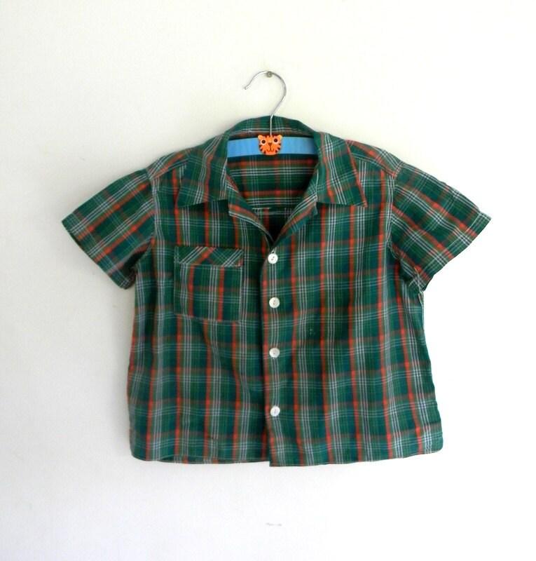 Boys Vintage Shirt, Plaid Button Shirt 1950s - JuliasChildVintage