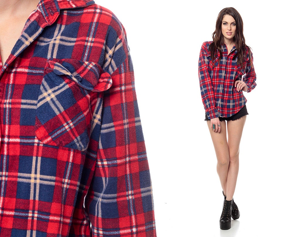 Red Flannel Shirt 90s Plaid Deep Blue Checkered By Shopexile