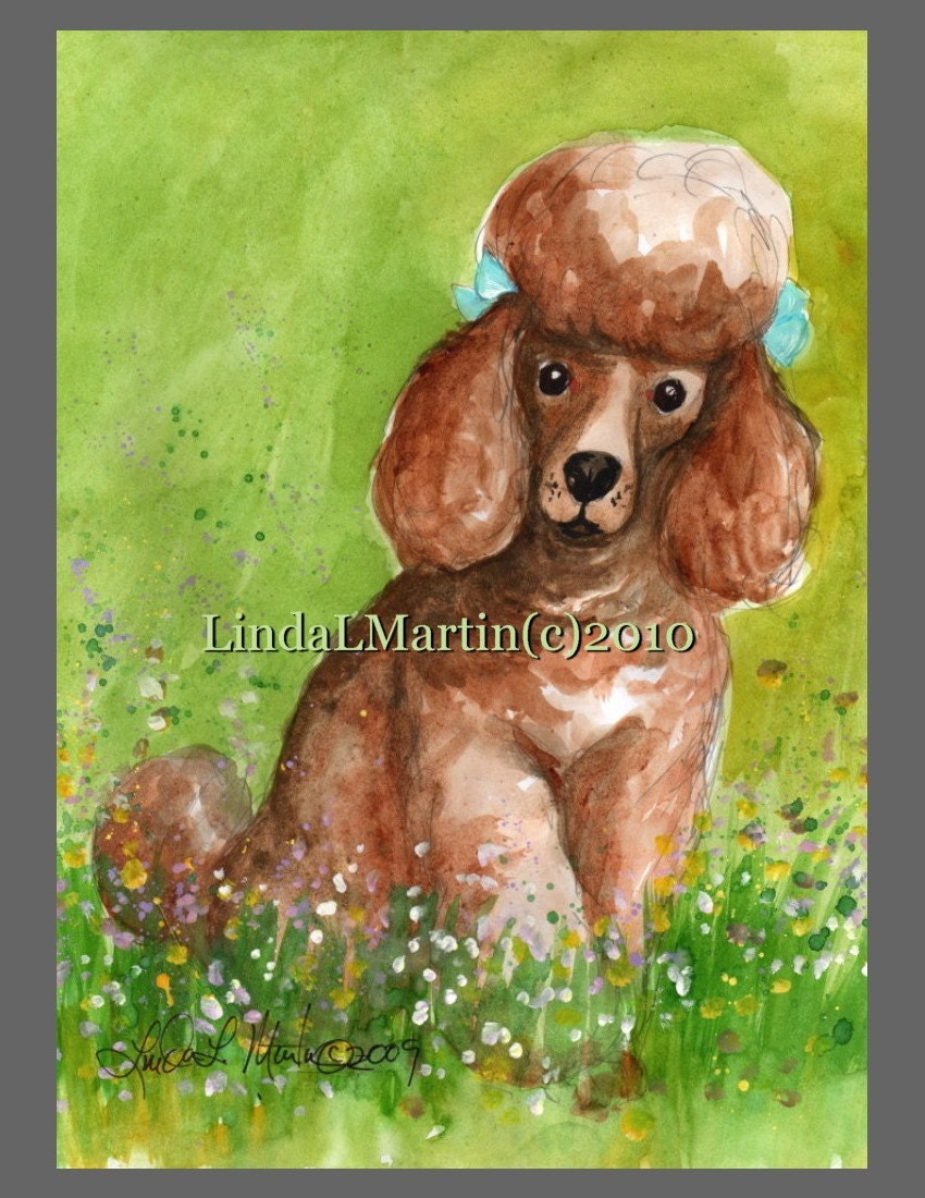 Red Poodle Art Print ACEO Miniature