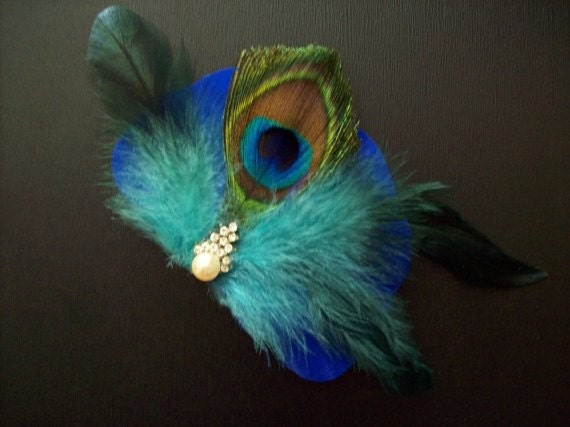 Peacock Fabulous.........1950's Vintage Jewelry, OOAK, Teal, Royal Blue, Electric Blue, Wedding, Headpiece, Cocktail Party, Black Tie Event, Hair Clip, Party, Fascinator