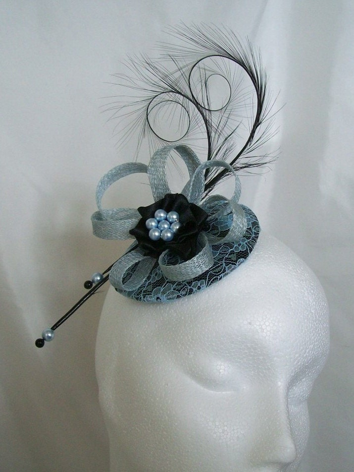 Black  Pale Blue Lace Covered Isadora Fascinator Mini Hat Curl Feathers and Pearls  Custom Made To Order