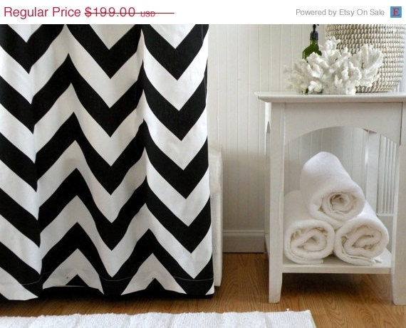 sale shower curtain chevron 72x72 black and by