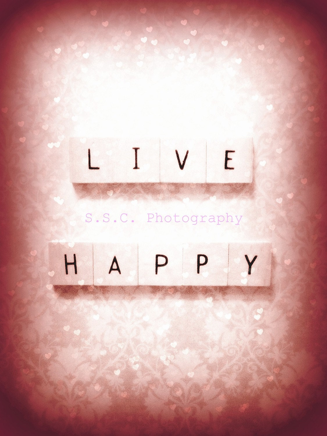 Live Happy 8.5 x 11 inch Photo w/thin white border for framing (NEW also available in larger sizes - see details)