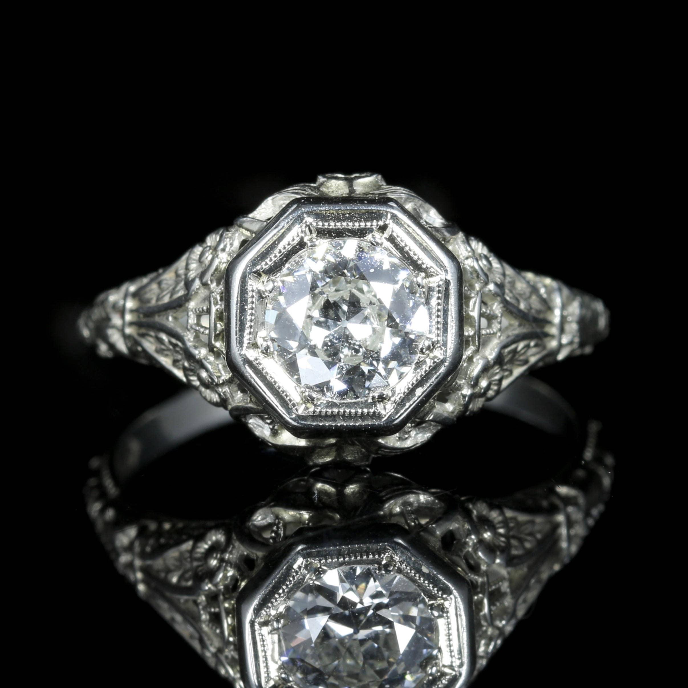 Antique Art Deco Diamond Engagement Ring 18ct White Gold 1.10ct Diamond