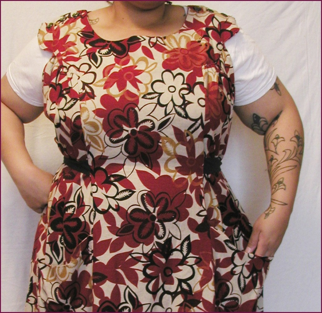 1950s handmade reproduction vintage inspired flower print dress jumper in linen blend fabric 50 bust PLUS SIZE