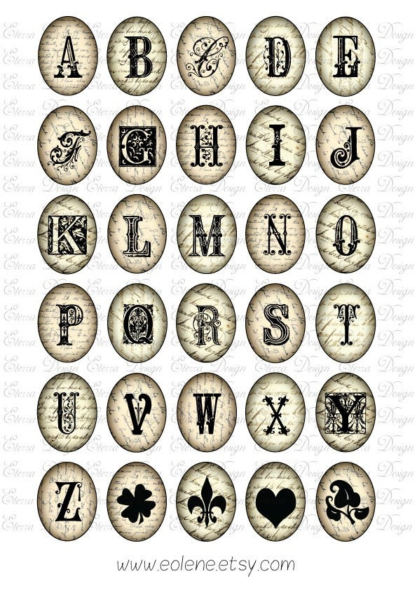Antique Alphabet  on Vintage Letters Oval 30x40mm Images Download and Print