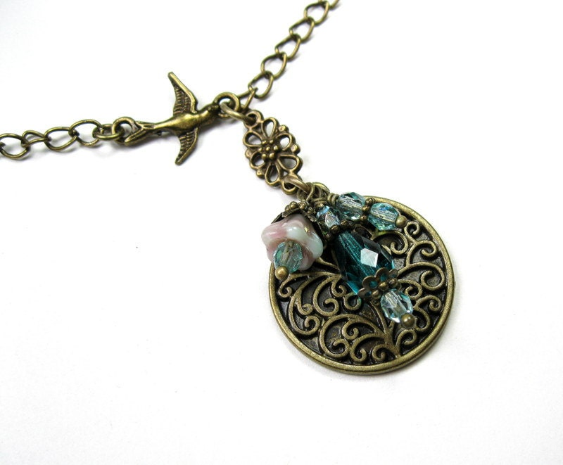 Aqua, Czech Glass and Brass, Pendant Necklace