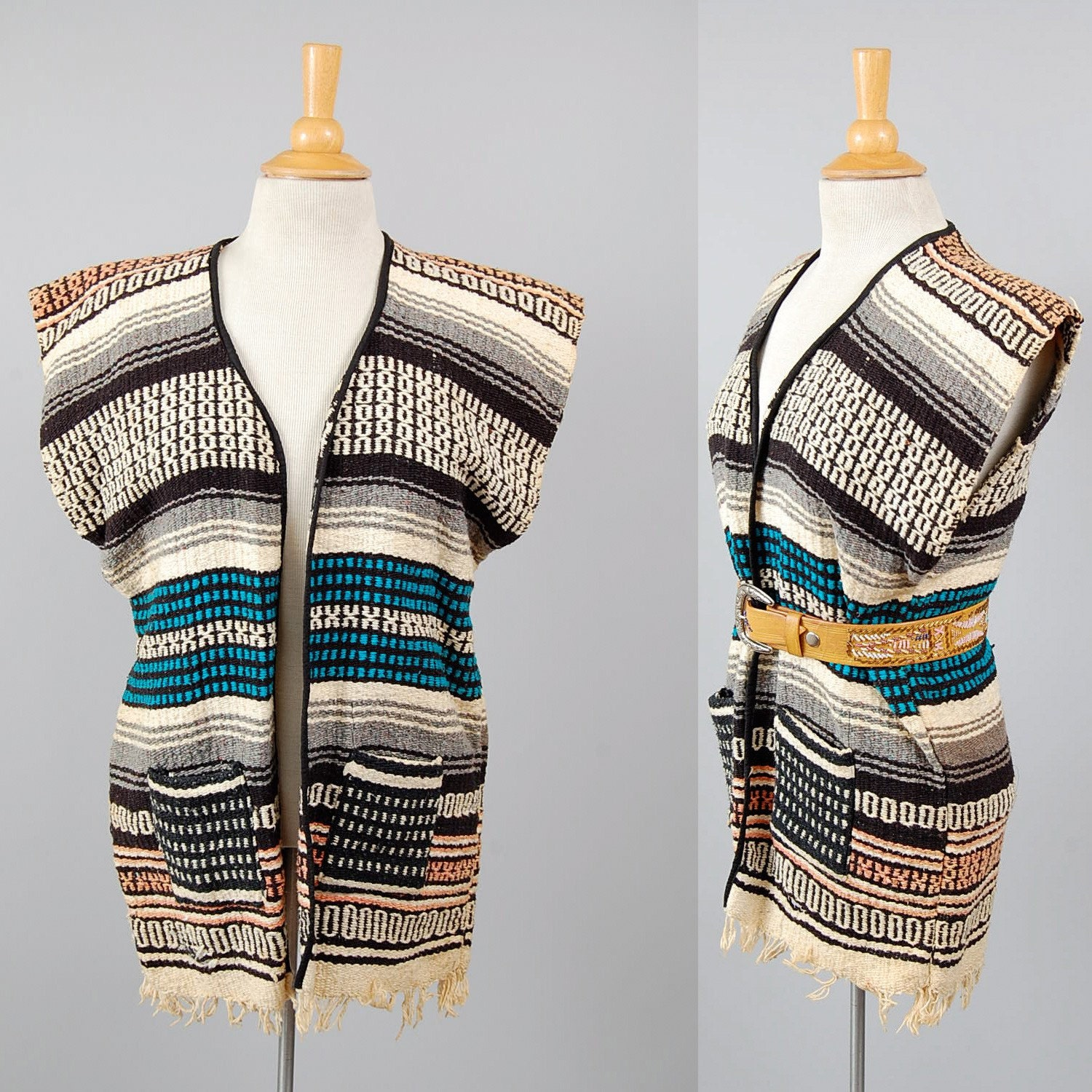 70s Woven Mexican Blanket Hippie Vest By Digvintageclothing