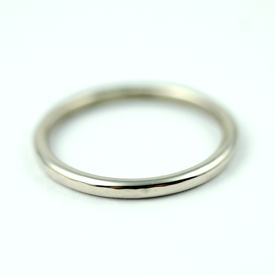 gold wedding band white gold simple slim by thebeadgirl
