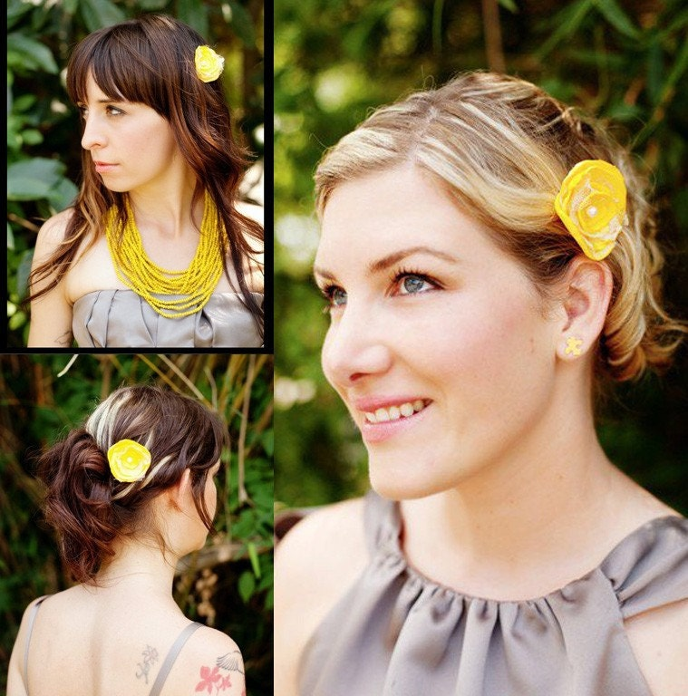 Buy 1 Get 1 SALE -Bridesmaid Hair Decor set of 3 flowers - choose your colors