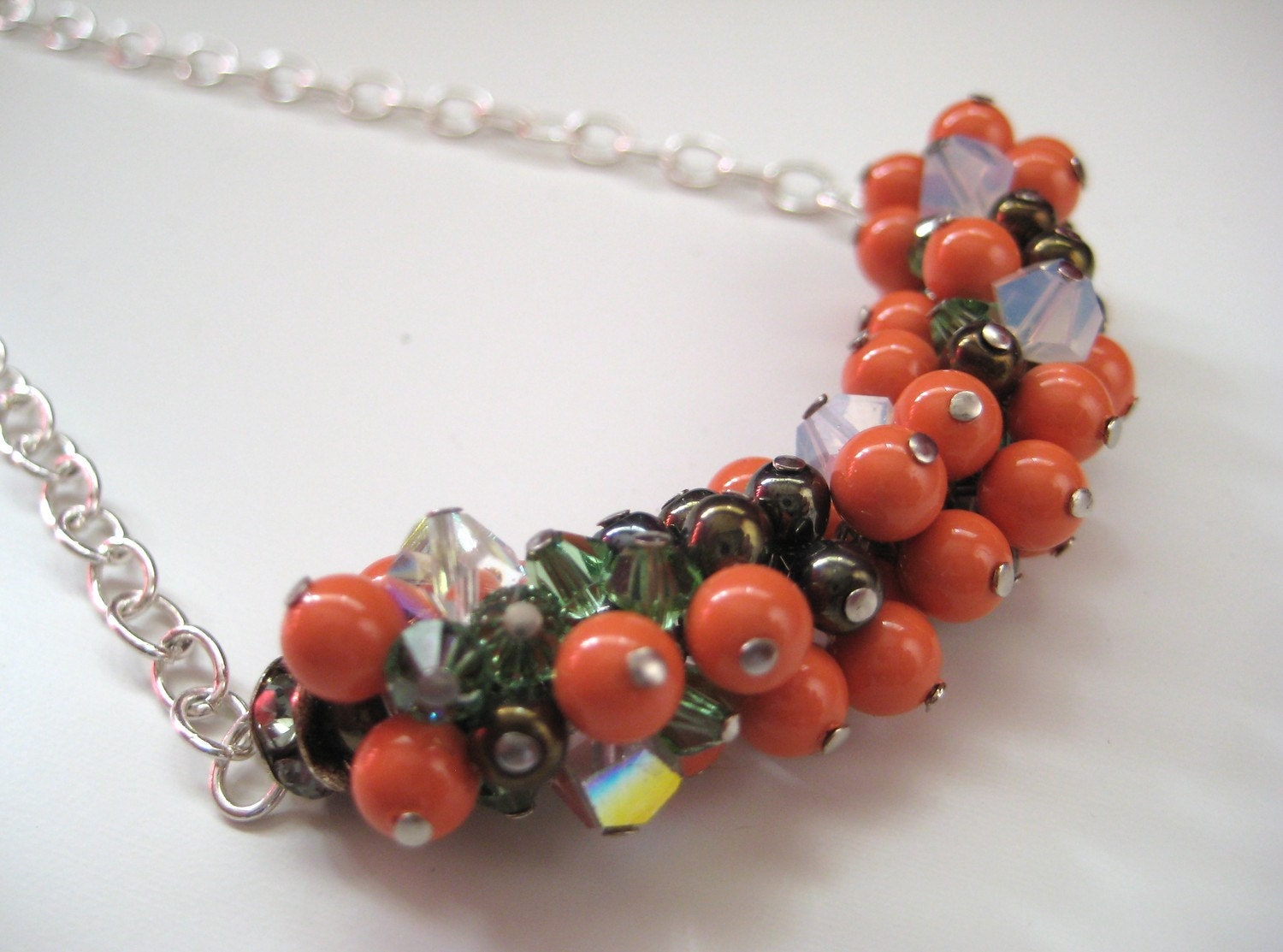 A Coral Pearl & Crystal Grape Handcrafted Beaded Cluster Necklace.