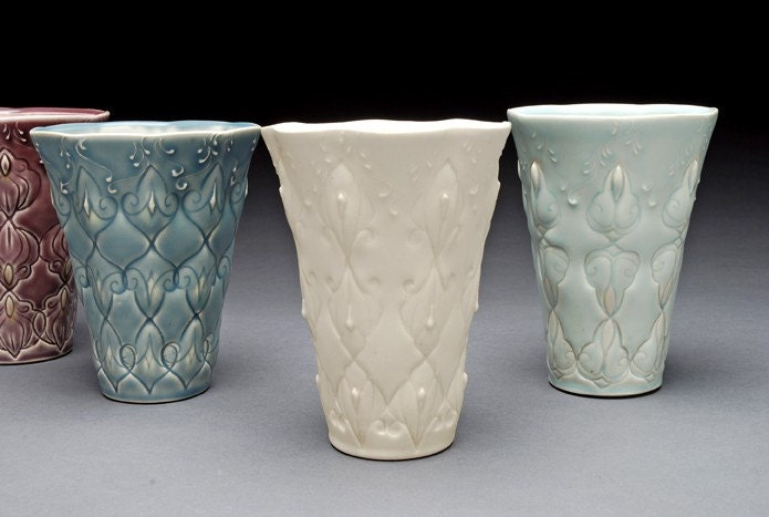 Stamped tumbler in Ivory