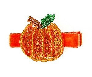 Pumpkin Sequin/Beaded Hair Clippie
