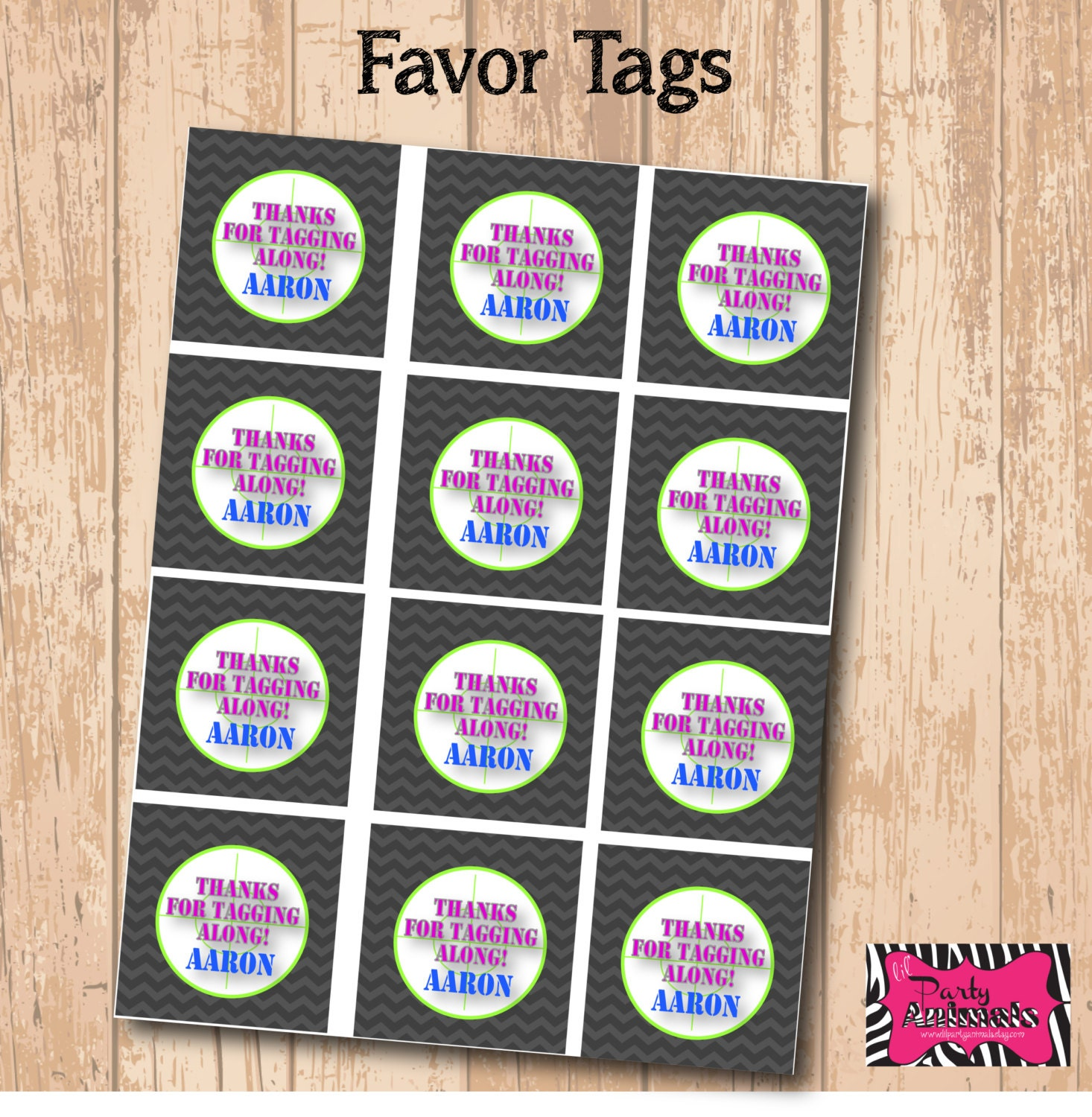 Shocking image with printable party favor tags