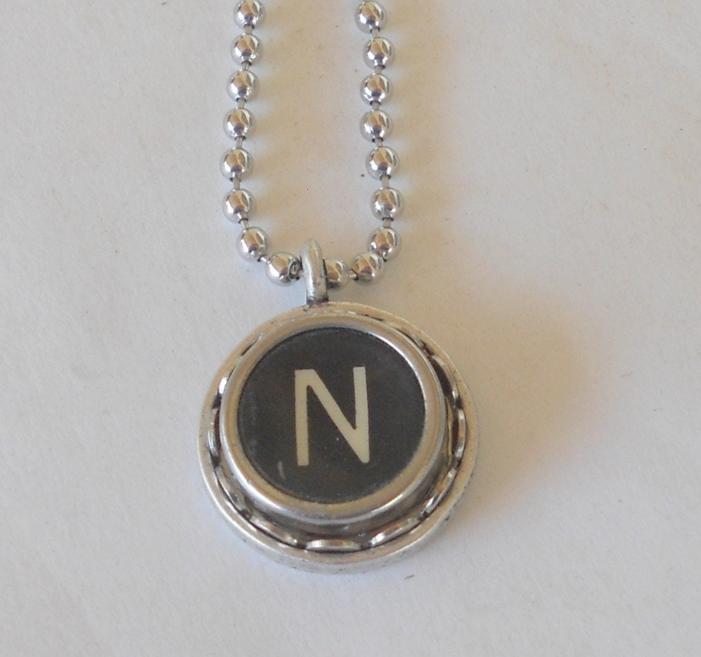 typewriter key necklace letter n vintage initial by