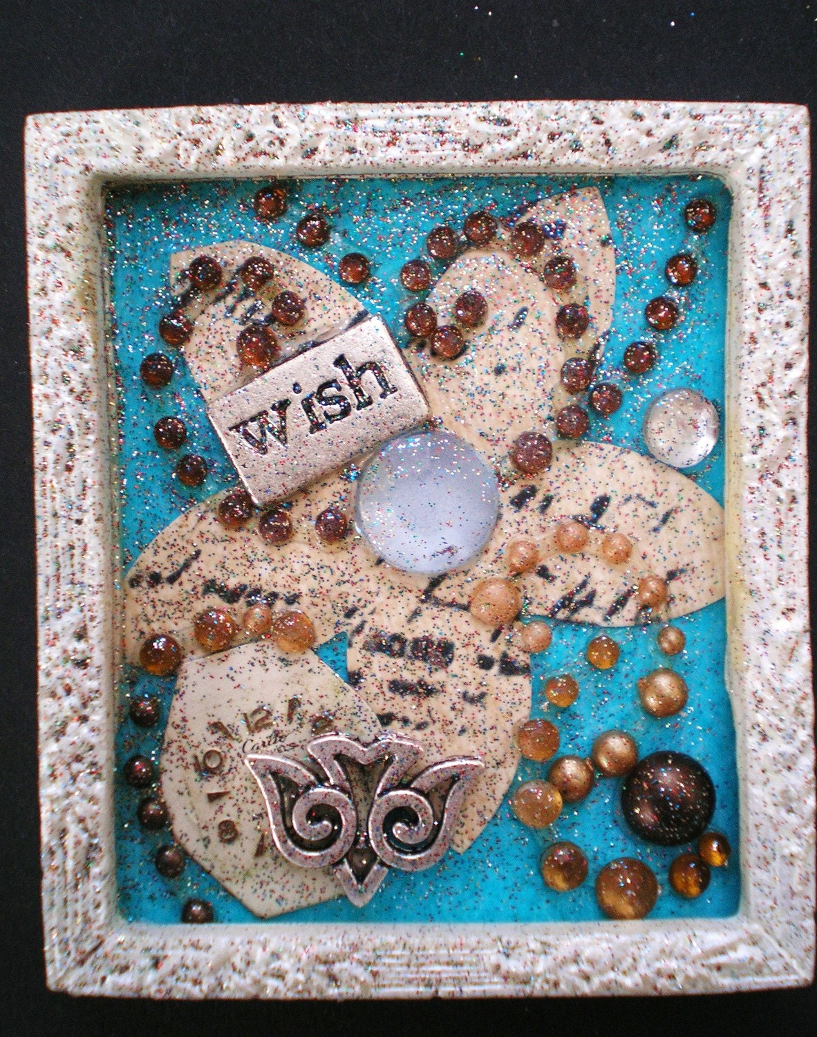 WISH  - Tiny Collage Mixed Media OOAK Framed Signed with Beads Silver Bird Charm Watch Parts