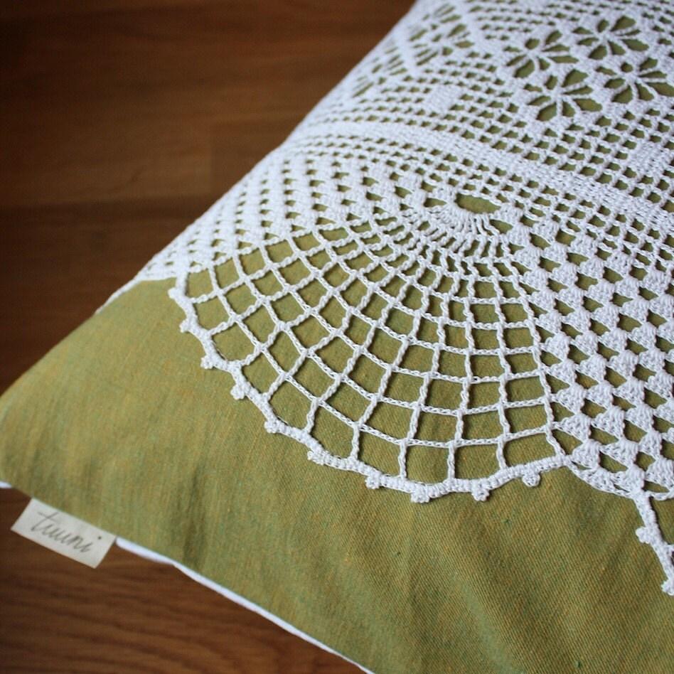 summer garden -pillow cover, olive green no.8