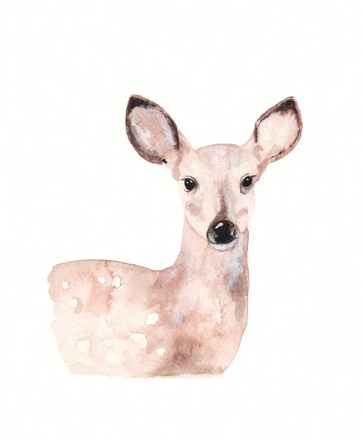Fawn/Deer/Tan/Cream/Beige/Brown / Archival Watercolor Print - kellybermudez