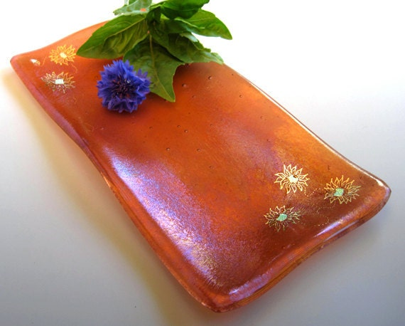 Glass dish with painted sunflowers, iridescent sunset coral orange, fused glass art, FREE SHIPPING (U.S. only) - StaceyAlysa