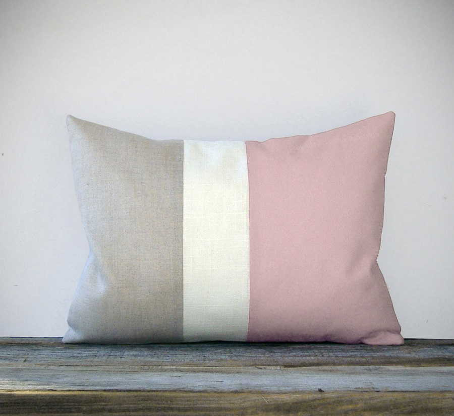 pastel pink color block decorative pillow with by