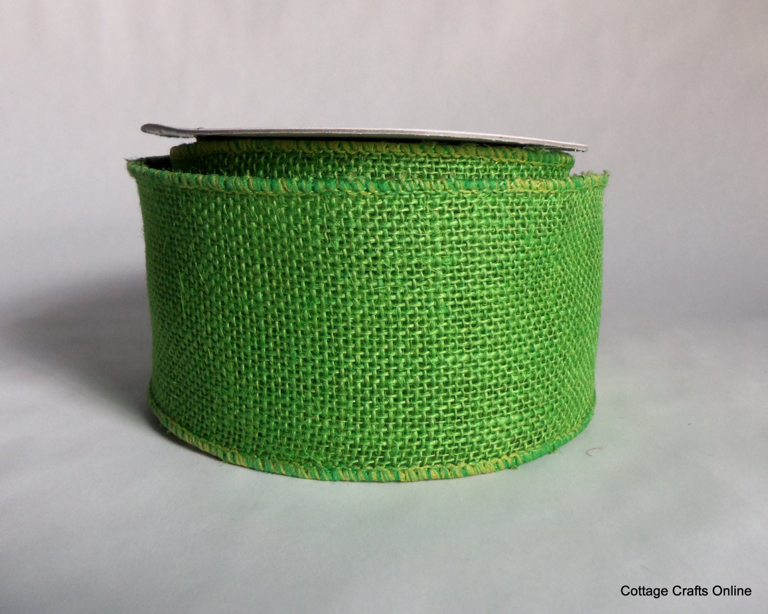 Wired ribbon 2 1 2 burlap lime green ten by for Green burlap ribbon
